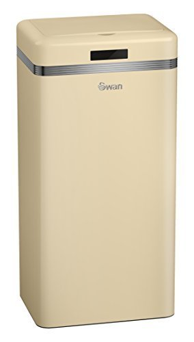 Swan Products Retro Square Sensor Bin, Iron, Cream, 67.5 x 33 x 25 cm, 45 Litre by Swan Products