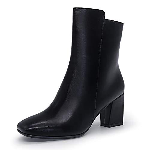 IDIFU Women's Ada Fashion Square Toe Short Gogo Ankle Boots Low Block Heel Side Zipper Booties - Half Size Larger (Black Pu, 7 M US)
