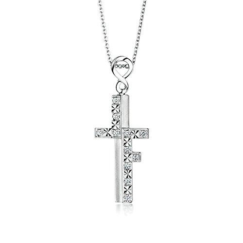 SonMo Echt 18K Weißgold Halskette für Damen Diamant Kreuz Kette mit Anhänger Echt Gold Kette mit Anhänger 750 Gold Schmuck Geschenk für Frauen Mädchen