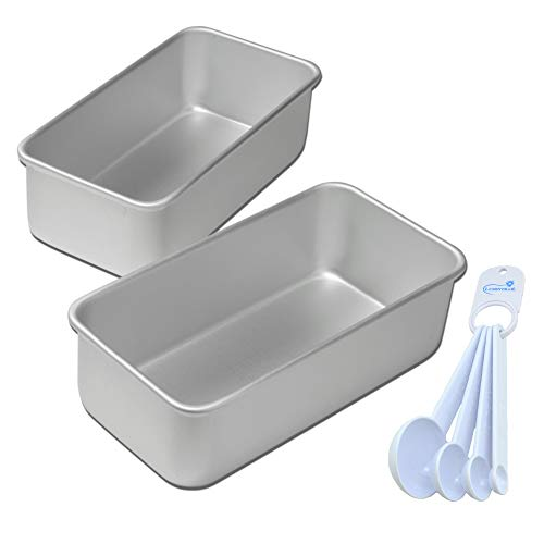 Fat Daddio's Bread Pans Set 7.75 x 3.75 x 2.75 inch, Set of Two Bundle with Lumintrail Measuring Spoon Set