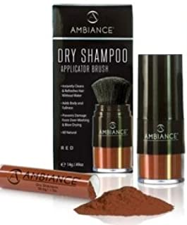 Ambiance Dry Shampoo Applicator/Refill Combo Pack (Red), Volumizing Tinted Powder Absorbs Excess Oil To Clean and Refresh ...