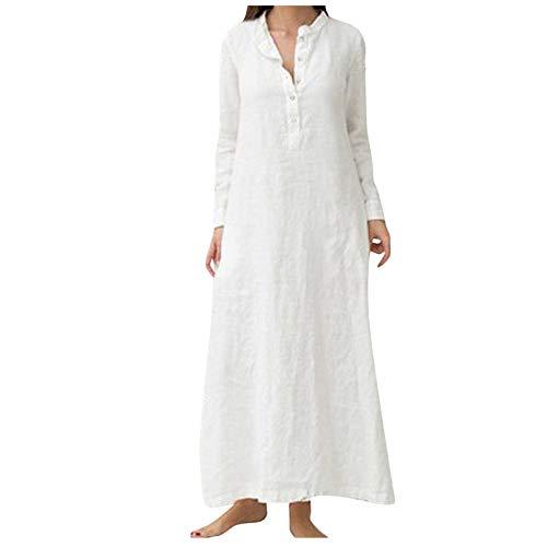 ReooLy Women's plus size maxi dress Casaul Elegant Cotton linen Long Sleeve Button collar Oversized beach Dress party evening dress(White,XXX-Large)