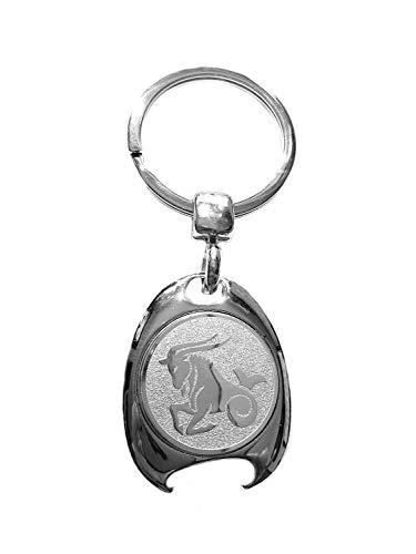 Sterrenbeeld Steenbok motief sleutelhanger, zilverkleurig, in elegante geschenkdoos met winkelwagenchip en flessenopener | Cadeau | Mannen | Vrouwen | Sport | Chip | Boodschappenschip | Opener