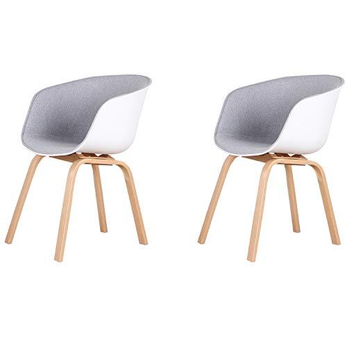 Un conjunto de 2 sillas de comedor, patas de metal tapizadas y de madera maciza, sillas de comedor de diseño moderno (gris claro).