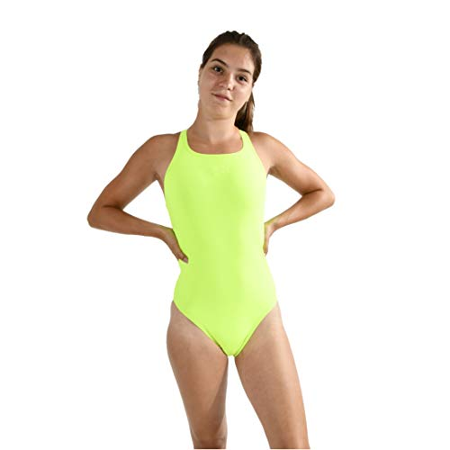 Speedo Essential Endurance+ Medalist, Swimsuit Donna, Fluo Yellow, 40 (UK 18)