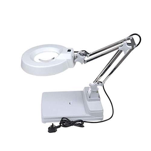 aipipl Tragbare LED-Vergrößerungslampe Desktop-Lupenlampe mit LED-Licht Faltlupe Desktop-Lampe 10-fache Vergrößerung Verstellbarer Schwenkarm für Schreibtisch Tisch Aufgabe Handwerk oder Werkbank