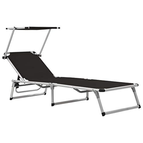 vidaXL Tumbona Plegable de Aluminio Textilene Negra Mueble Sofá Silla Asiento