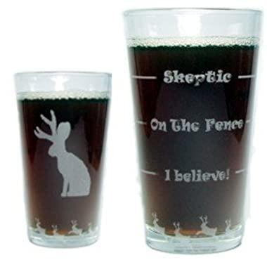 Jackalope Drink 'Till You Believe - 360 Degree Engraved Beer Pint - 16 oz - Permanently Etched Around Glass and Bottom - Fun & Unique Gift!