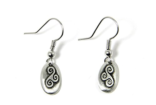 Valentine's Day Gift Pewter Celtic Realm Earrings The Triskele From Ireland
