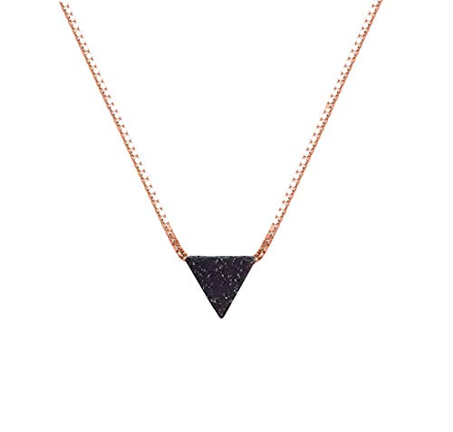 lenoup Triangle Lava Bead Essential Oil Diffuser Necklace,Lava Stone Necklaces Essential Pendant Aromatherapy Jewelry(Rose Gold)