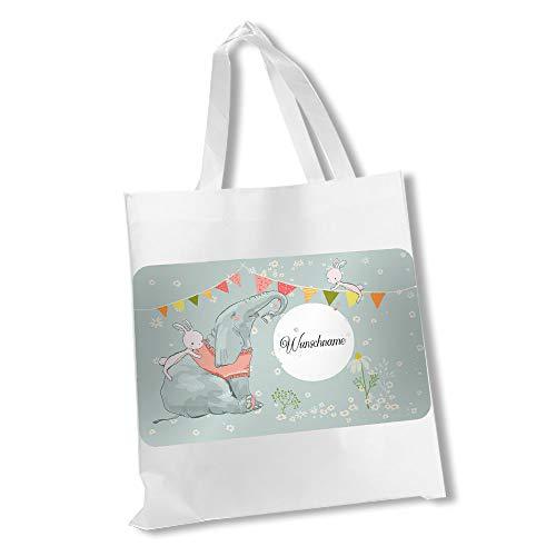 wolga-kreativ Stofftasche Einkaufstasche Elefant Hase mit Name Stoffbeutel Kindertasche Sportbeutel Schuhbeutel Wäschebeutel Stoffsäckchen Jutebeutel Schultertasche Mädchen Junge