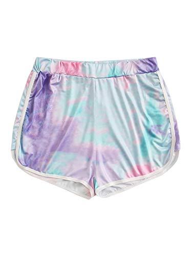 MakeMeChic Women's Plus Size Tie Dye Workout Shorts Elastic Waist Track Active Shorts Multi-4 XX-Large Plus