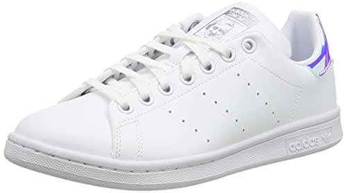 adidas Stan Smith J, Scarpe da Ginnastica, Ftwr White/Ftwr White/Silver Met, 38 2/3 EU