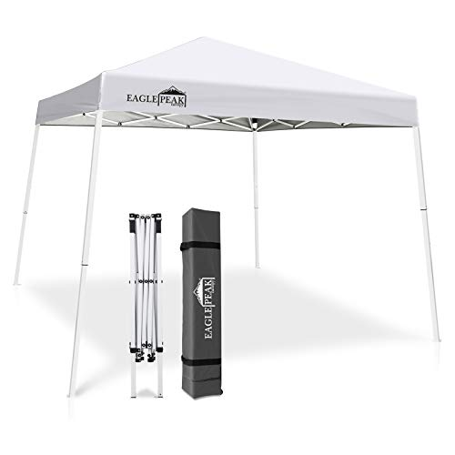 EAGLE PEAK 10' x 10' Slant Leg Pop-up Canopy Tent Easy One Person Setup Instant Outdoor Canopy Folding Shelter 10' x 10' Base 8' x 8' Top (White)