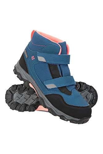 OAKI Kids Rain Boots with Handles, Blue, White & Green Stripes, 4Y Big Kid