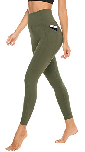 JOYSPELS Leggings Damen, Sporthose Lang Sportleggins, High Waist Sport Leggins für Damen, Olivgrün, S