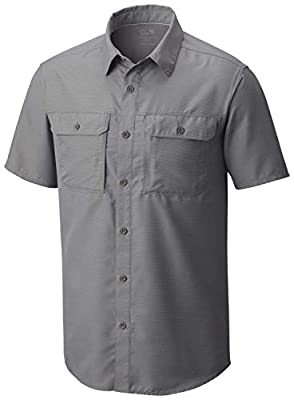 Mountain Hardwear Canyon Men's Short Sleeve Shirt for Hiking, Trekking, and Everyday - Manta Grey - Medium