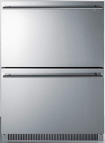 Summit Appliance ADRD24 Commercially 24 Wide Indoor/Outdoor ADA Compliant 2-Drawer All-Refrigerator in Stainless Steel, 4.8 cu.ft. Capacity, Frost-Free Defrost, Digital Display and Thermostat
