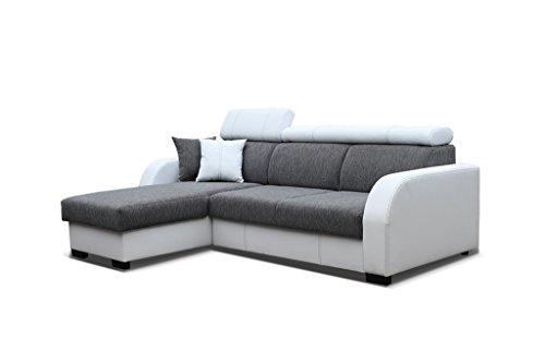 Couch mit Schlaffunktion Eckcouch Ecksofa Polstergarnitur Wohnlandschaft - COBBY (Ecksofa Links, Grau)