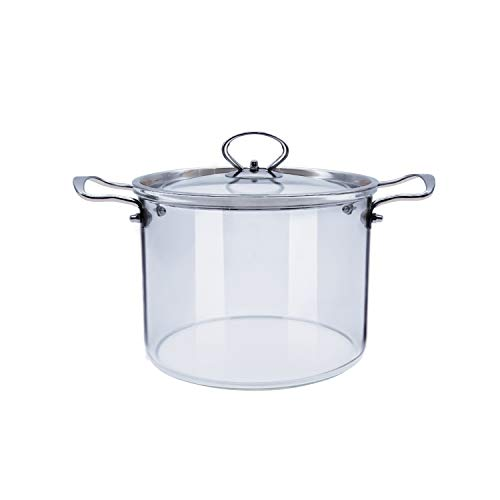 Glass Saucepan with Lid for Cooking Glass Pot Stovetop 5L Heat Resistant ABHOME Stainless Steel Double Handles Stovetop Clear Glassware for Cooking Milk, Pasta & Baby Food (5 Liter) …