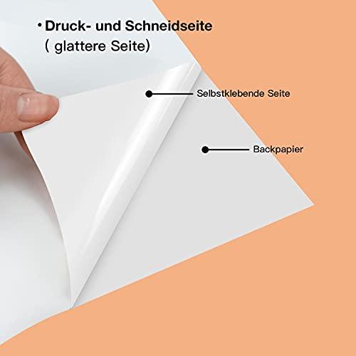 HTVRONT 20 hojas de vinilo imprimibles resistentes al agua, color blanco mate, 216 x 280 mm, para impresoras de inyección de tinta y láser