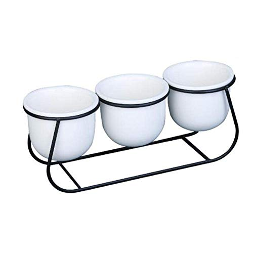 ZIYUMI 3 Piece Small Ceramic Flower Pot with Metal Stand, Juicy Planters Indoor Iron Frame Set Plant Pots Container for Cactus Plants Bonsai Black