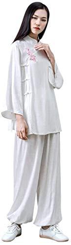 HLZY Uniformes Tradicionales Chinos de Tai Chi Kung Fu Mujeres Kung fu Uniforme Tai chi Traje algodón Artes Marciales Traje Zen meditación (Color : White, Size : UK M/Tag L)