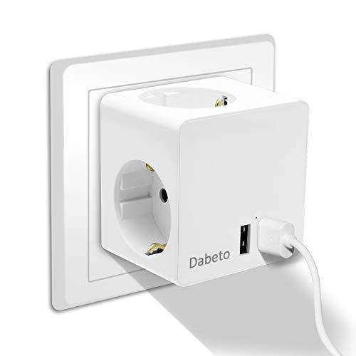 Dabeto 5-IN-1 Würfel Steckdose USB Adapter,3 Steckdosen(3680W) 2 USB Anschluss(5V/2.4A) USB Stecker Intelligentes IC-Schnellladen,Flammhemmendes Material,Kein Kabel,Leicht zu Tragen etc