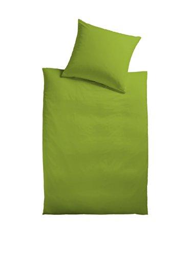Mesana - Biancheria da letto in cotone satinato, tinta unita, 135 x 200 + 40 x 80 cm, colore: Verde
