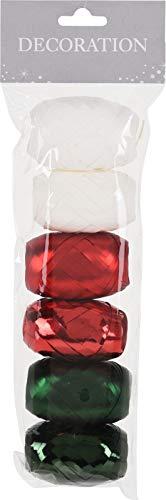 MIJOMA Set Ringelband Polyband Geschenk-Band zum Basteln und Verpacken - 10 m je Rolle glänzend & matt Sortiert (6-teilig, weiß - rot - grün)
