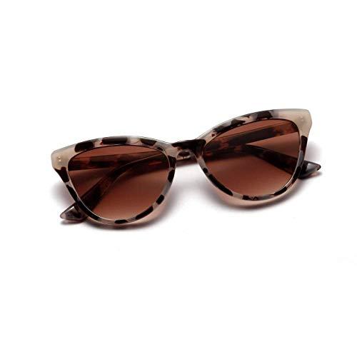 YANPAN Modetrend Cat Eye Sonnenbrille Damen Persönlichkeit Coole Retro Sonnenbrille Männer Grau Schildpatt