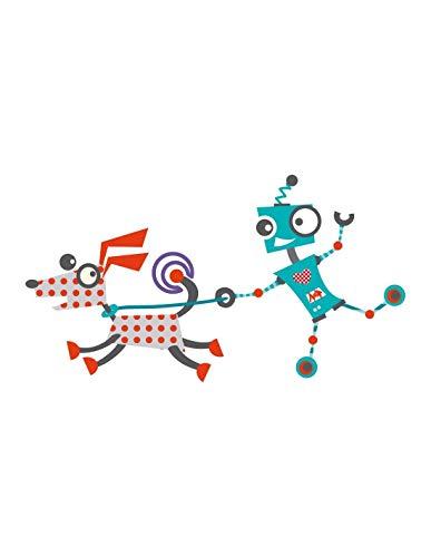 Sticker enfant : Robot et son chien - Format : 35 x 20 cm