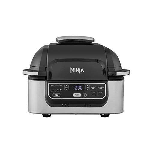 An image of the Ninja Foodi Health Grill and Air Fryer [AG301UK] 5.7 Litres, Brushed Steel and Black