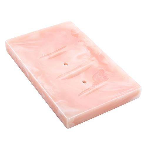 Luxspire Harz Seifenschale, Deko Rectangular Seifenhalter mit Ablauf, Vintage Seifenbox Seifenablage Gehäuse für Küche, Bad, Dusche, Reise, Aufbewahrungstablett für Seife Schwamm - Tinte Rosa