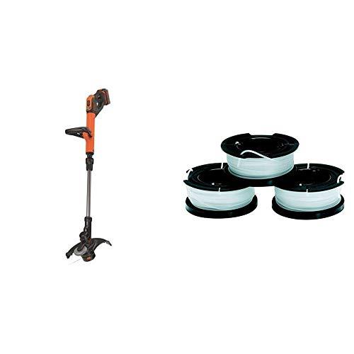 Black+Decker Akku-Rasentrimmer (Powercommand EasyFeed, 18V 4,0Ah, inkl. Akku und Ladegerät, 30 cm Schnittbreite, für größere Flächen) + Fadenspulen (für Trimmer 3er Pack- 3 x 10 m Länge)