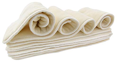 """10 Pack Bamboo Cloth Diaper Inserts - 4 Layers - Reusable and Absorbent - 13"""" x 5"""" Perfect for Any Diaper - Nora's Nursery"""