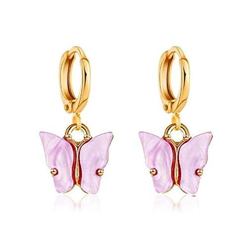 CXWK Pendientes de Moda Coreana, joyería con Forma de Mariposa acrílica, pequeños Pendientes de Gota Dulces y Frescos para Mujer, Bonitos Mejores Regalos