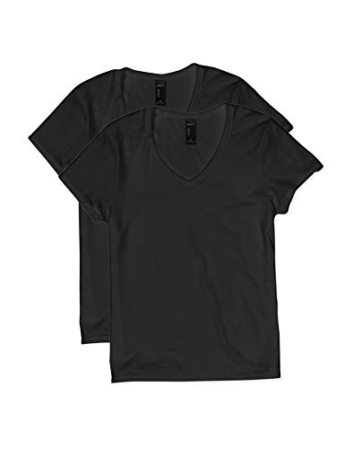 Hanes Women's Short Sleeve V-Neck t-Shirt, black1, Small
