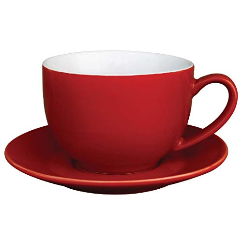 Olympia Lot de 12 tassesà cappuccino en porcelaine Rouge 340 ml