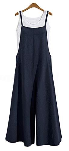 Women's Jumpsuits Casual Long Rompers Wide Leg Baggy Bibs Overalls Pants S-5XL (S, Navy)