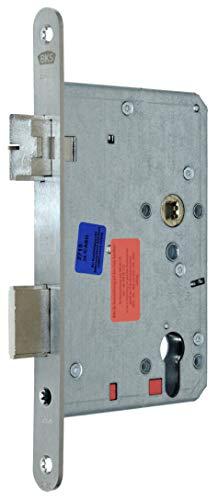 BKS Automatik Türschloss Selbstverriegelnd B 2124 für Profilzylinder 80/72/8, Edelstahl Stulp: 20 x 235mm abgerundet, DIN Links incl. SN-TEC® Montageset