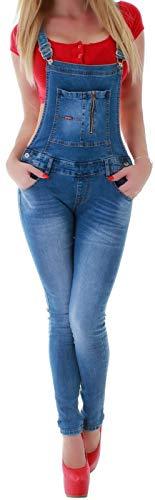Damen Jeans Hose Latzhose Skinny Latzjeans mit Träger-n Röhrenjeans Röhren-Jeans-Hosen Hüft-Jeans Damen-Hose-n Low Waist Overall Latzhosen Damenjeans Jumpsuit Denim Gr Größe Hell-Blau-e XS 34