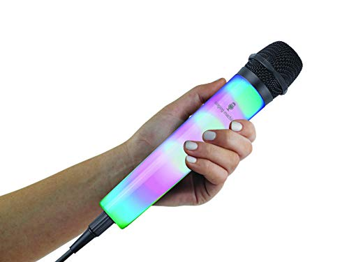 Singing Machine SMM225BK Unidirectional Wired Microphone with LED Disco Lights, Black