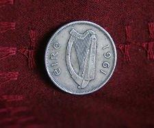 1961 Ireland Sixpence -- Irish Wolfhound & Celtic Harp -- Wedding Coin -- Luck of the Irish