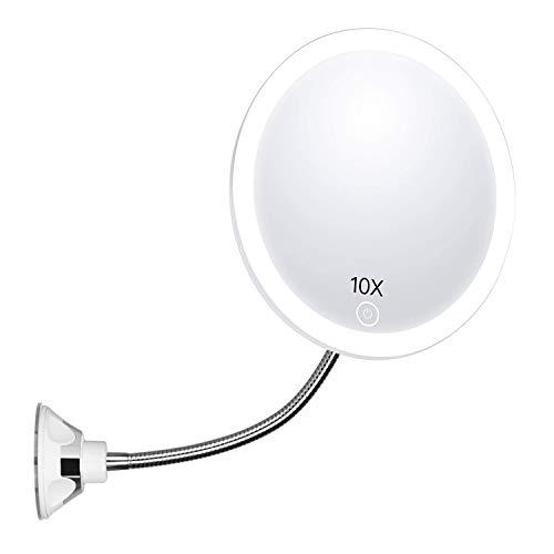 Espejo redondo para maquillaje con aumento (10X), con luz LED y brazo flexible, para el baño, con ventosa fuerte, rotación de 360 grados, para viajar y para el hogar