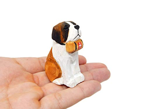 Bernard Dog Puppy Figurine - Miniature 2 Inch Wooden Carving Handmade Home Decor Small Animal Garden Statue Pet Canine Hound