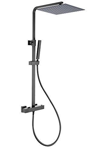 JOHO Thermostat Duschsystem Duschset matt schwarz(XXL Kopfbrause 30x30cm)