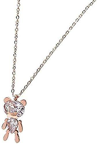 NONGYEYH co.,ltd Collar de Oso de Cristal de Titanio, Collar con Colgante de Acero, Cadena de clavícula de Temperamento Salvaje, 40 + 6 cm, Amor su Regalo