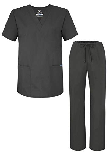 Adar Universal Unisex Pflegebekleidung - Unisex Set mit Kordelzug - 701 - Pewter - M