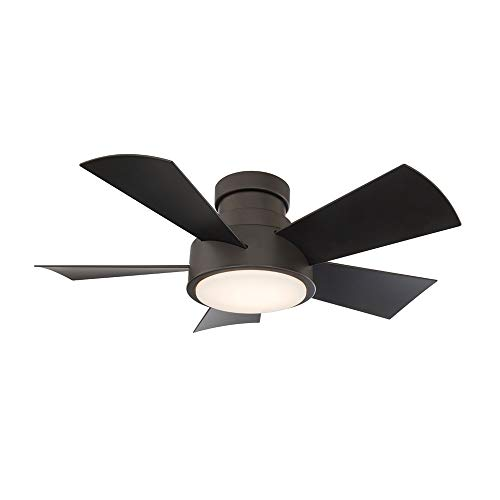Vox Indoor and Outdoor 5-Blade Smart Flush Mount Ceiling Fan 38in Bronze with 3000K LED Light Kit and Remote Control